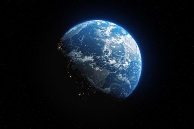 Сияющая планета земля вид из темного пространства