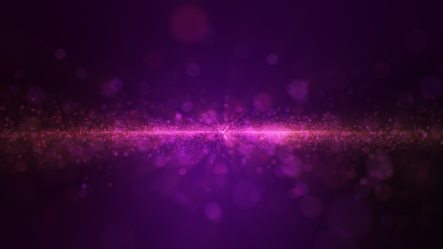 Glow purple dust particle glitter sparks abstract background for celebration.