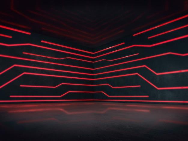 光のglowimgの抽象的な空間と空の部屋。