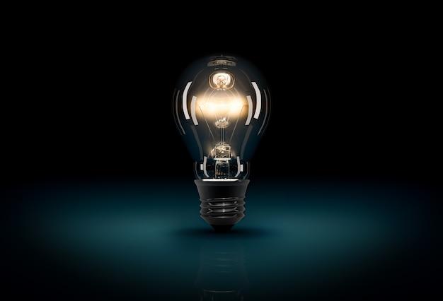 暗い青色の背景に光る 3 d 電球。暗闇の中の光のコンセプト。