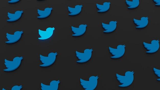 배열 된 패턴으로 빛나는 3d twitter 그림 마크 로고