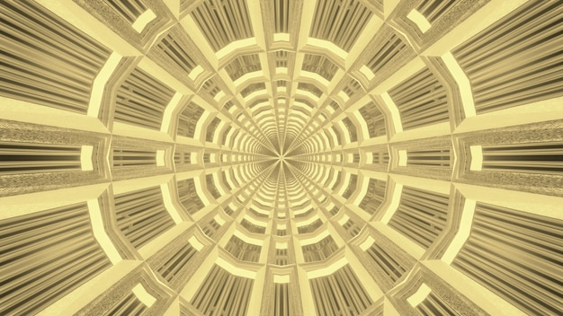 Glowing abstract art visual background of circular shaped endless sci fi tunnel with symmetrical geometric in golden tones