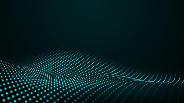 빛나는 추상 디지털 웨이브 입자. 미래의 그림입니다. 어두운 배경에