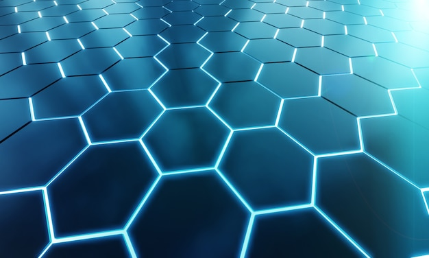 Glowing black and blue hexagons background pattern on silver metal surface