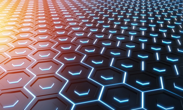 Glowing black blue and orange hexagons background pattern on silver metal surface 3d rendering