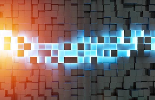 Glowing black blue and orange squares background 3d rendering