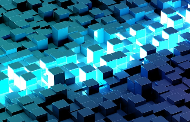 Glowing black and blue squares background 3d rendering