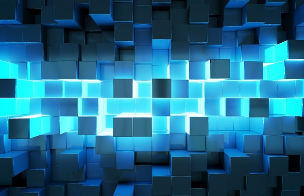 Glowing black and blue squares background pattern