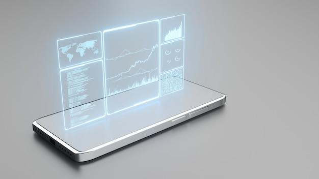 Светящийся синим цветом данные деловой информации на стеклянной панели мобильного телефона