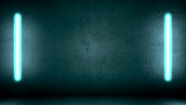 Светящиеся синие неоновые огни на фоне стены в клубе