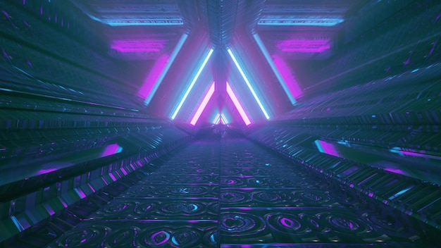 Glowing blue and violet neon lights framing triangle shaped passage in futuristic building as abstract architecture background design in 4k uhd 3d illustration