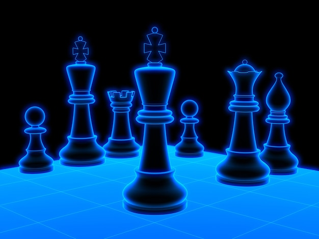 Glowing chess board. 3d black background isolated rendering.