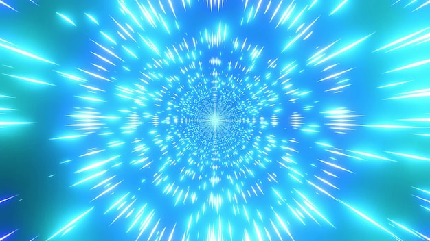 Glowing color changing 4k uhd space particles tunnel 3d illustration
