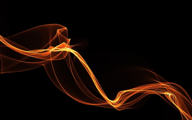 Glowing colored wave on a dark background