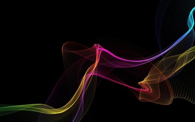 暗い背景に輝く色の波