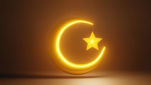 輝く三日月と星