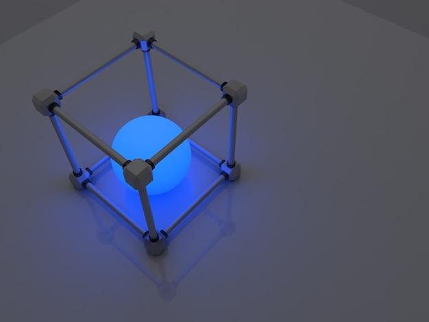 형광등의 빛나는 큐브. 기하학적 처리 시설의 추상 구성