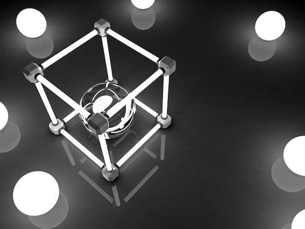 형광등의 빛나는 큐브.