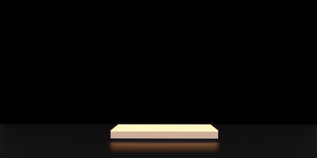 輝くディスプレイスタンドネオンライトディスプレイ黒の背景3dレンダリング