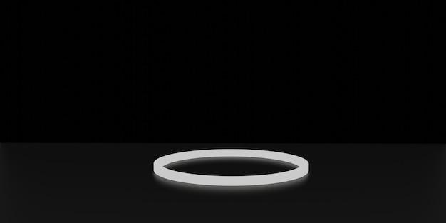 Светящийся стенд неоновый свет дисплей черный фон 3d-рендеринг