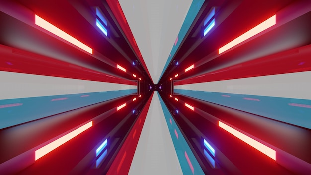 Glowing endless tunnel as 4k uhd 3d illustration with neon lights of flag of luxembourg