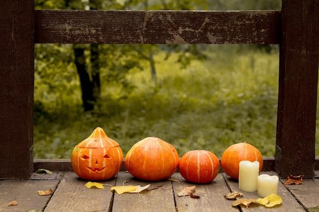 가을 나무 오래 된 바닥에 호박 행에 빛나는 악마 호박
