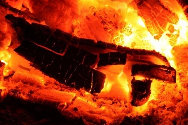 Glowing fire embers