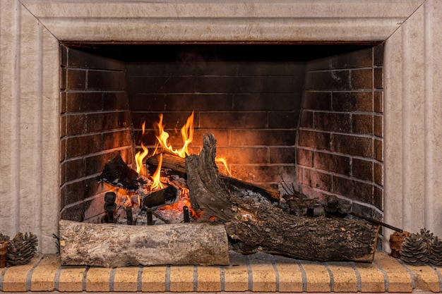 Светящийся огонь в огромном каменном камине. Premium Фотографии