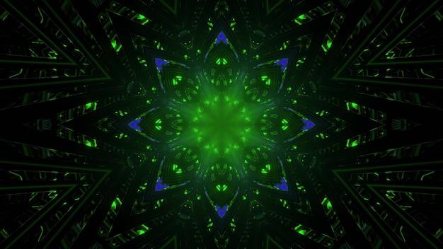 Glowing flower shaped pattern in darkness 3d illustration