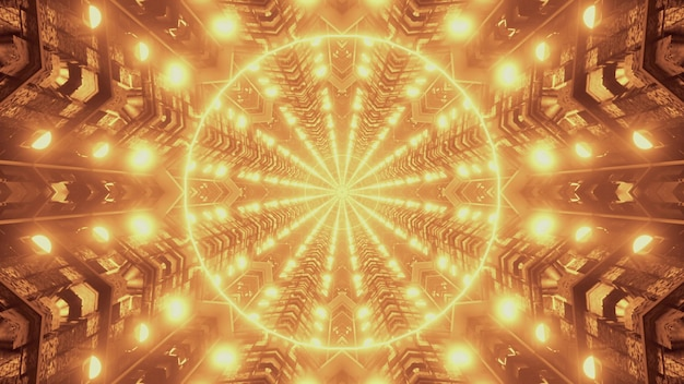 Glowing golden lights forming symmetric geometric circular pattern inside of futuristic tunnel as abstract background 4k uhd 3d illustration