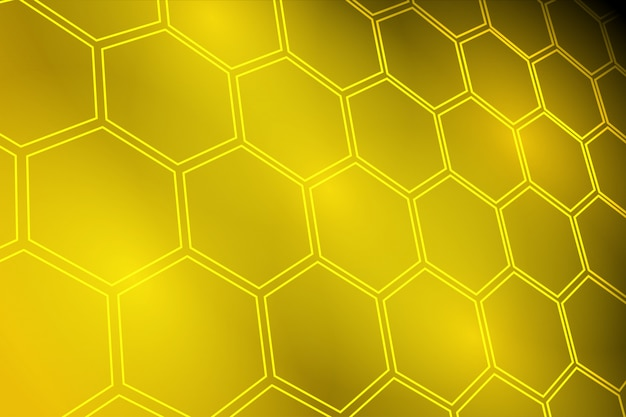 Glowing golden yellow hexagon background