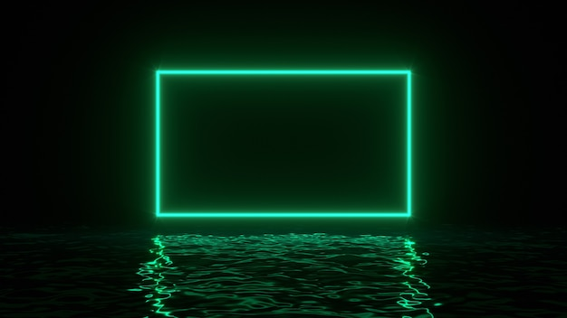 Glowing green neon rectangle with reflections in water surface.