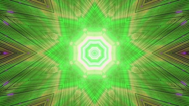 Glowing green stripes of futuristic endless tunnel background