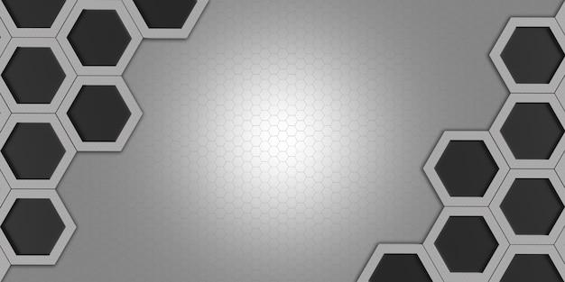 빛나는 육각형 육각형 프레임 및 추상적 인 기하학적 보케 효과 육각형 강철 소재