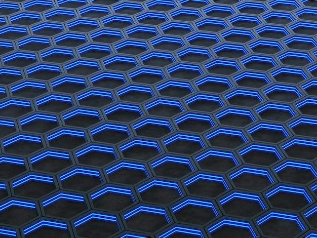 Светящиеся гексагональные ячейки на сером фоне. 3d рендеринг