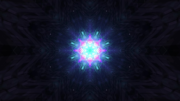 Glowing holographic pattern in darkness 4k uhd 3d illustration