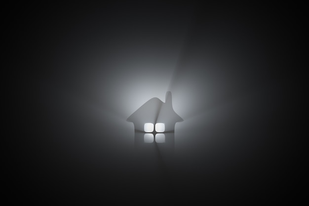 Glowing house icon. real estate topics