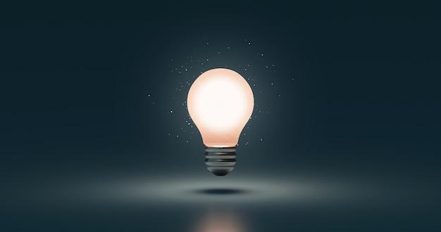 Светящаяся лампочка идеи и творческая концепция инновационного мышления на темном фоне вдохновения успеха с символом решения дизайна электрической лампы. 3d-рендеринг.