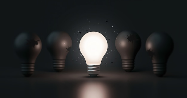 Glowing idea light bulb and innovation thinking creative concept on success inspiration dark background with solution symbol of electric lamp design. 3d rendering.