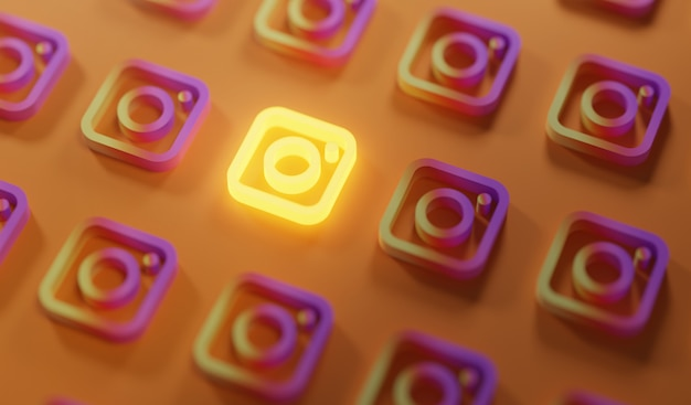 Glowing instagram logo pattern