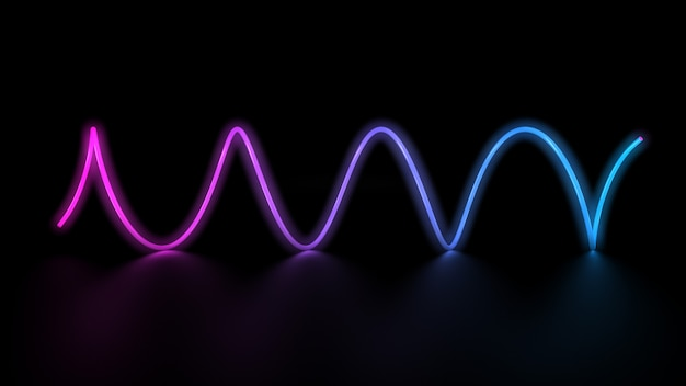 Glowing laser neon light lines spiral