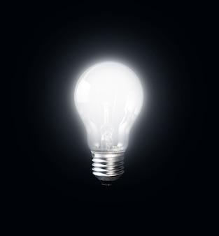 Dark.creativity 영감 개념에 빛나는 전구
