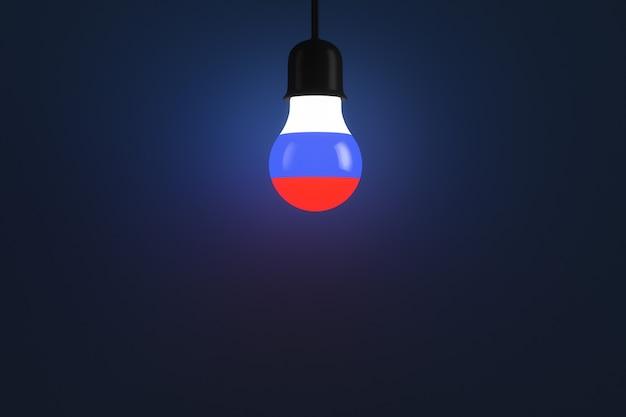 ロシアの旗のスタイルで光る電球。スペースをコピーします。政治的な話題。
