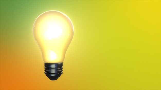 Glowing light bulb isolated