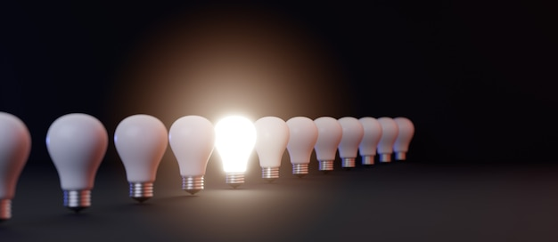 他の3dレンダリングイラストの間で明るく輝く電球