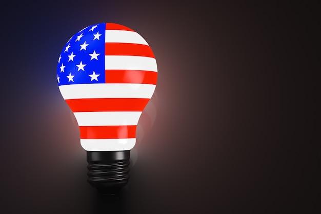 미국 국기로 양식화된 빛나는 전구. 공간을 복사합니다. 정치적 주제