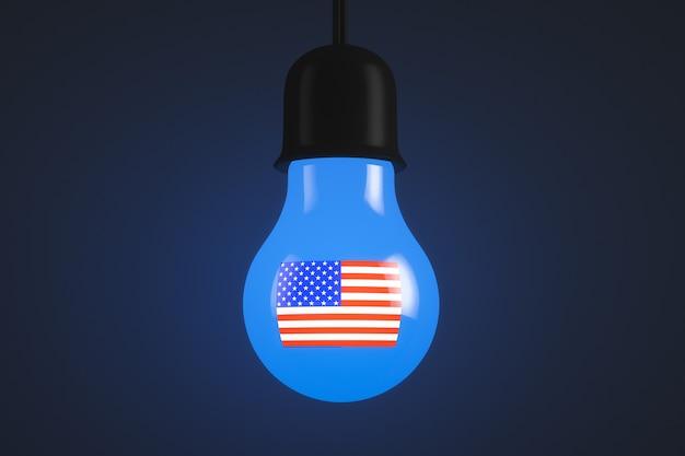 어두운 배경에 미국 국기와 함께 빛나는 전구