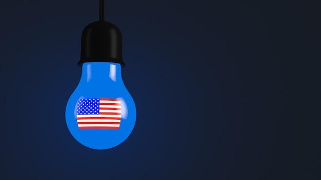 미국 기호로 빛나는 전구. 정치적인 주제.