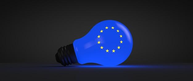 ヨーロッパのシンボルが付いた白熱電球。政治的なテーマ。