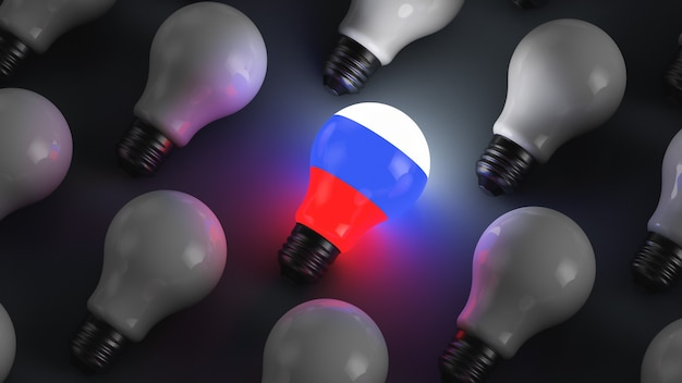 Glowing light bulb with russian symbols surrounded by non-luminous bulbs. geopolitical topics